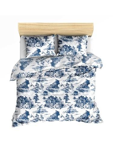 Maki Touile Mavi Çift Kişilik Nevresim Ve 2 Yastık Kılıfı Seti Beyaz